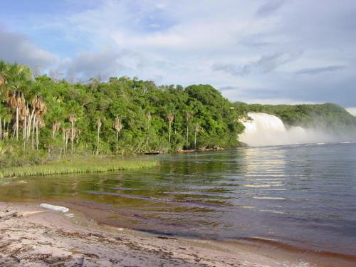 Canaima_acha_falls_from_island