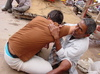 Varanasi_jose_getting_a__massage_on_the_